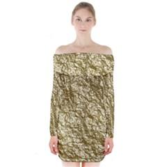 Crumpled Foil 17c Long Sleeve Off Shoulder Dress