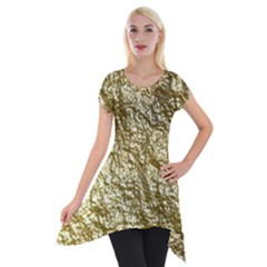 Crumpled Foil 17c Short Sleeve Side Drop Tunic