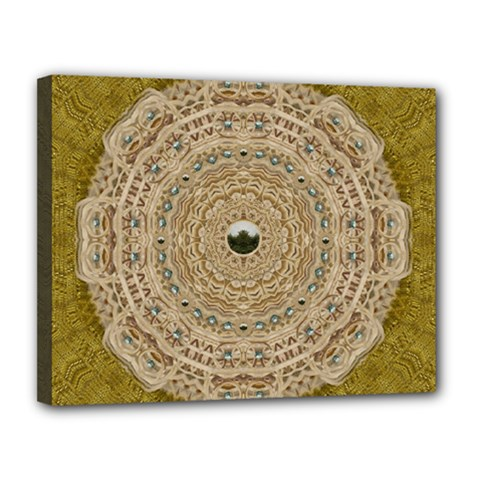 Golden Forest Silver Tree In Wood Mandala Canvas 14  X 11