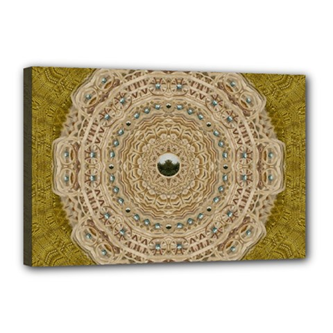 Golden Forest Silver Tree In Wood Mandala Canvas 18  X 12