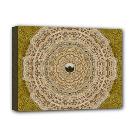 Golden Forest Silver Tree In Wood Mandala Deluxe Canvas 16  X 12