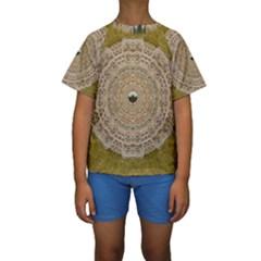 Golden Forest Silver Tree In Wood Mandala Kids  Short Sleeve Swimwear
