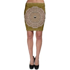 Golden Forest Silver Tree In Wood Mandala Bodycon Skirt