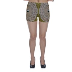 Golden Forest Silver Tree In Wood Mandala Skinny Shorts