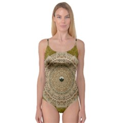 Golden Forest Silver Tree In Wood Mandala Camisole Leotard