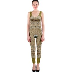Golden Forest Silver Tree In Wood Mandala Onepiece Catsuit