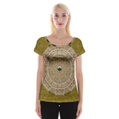 Golden Forest Silver Tree In Wood Mandala Cap Sleeve Tops