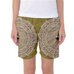 Golden Forest Silver Tree In Wood Mandala Women s Basketball Shorts