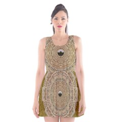 Golden Forest Silver Tree In Wood Mandala Scoop Neck Skater Dress
