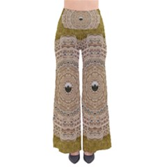 Golden Forest Silver Tree In Wood Mandala Pants