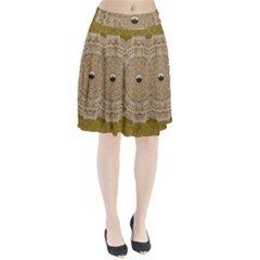 Golden Forest Silver Tree In Wood Mandala Pleated Skirt