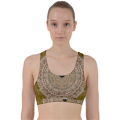 Golden Forest Silver Tree In Wood Mandala Back Weave Sports Bra