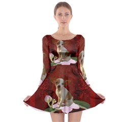 Sweet Little Chihuahua Long Sleeve Skater Dress
