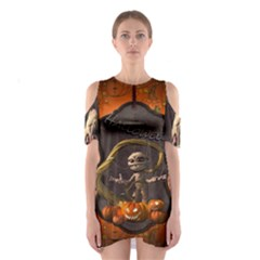 Halloween, Funny Mummy With Pumpkins Shoulder Cutout One Piece