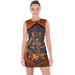 Halloween, Funny Mummy With Pumpkins Lace Up Front Bodycon Dress