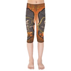Halloween, Funny Mummy With Pumpkins Kids  Capri Leggings