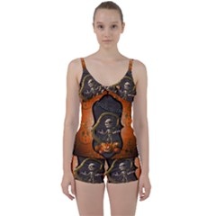 Halloween, Funny Mummy With Pumpkins Tie Front Two Piece Tankini