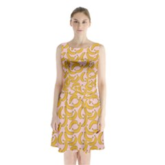 Pastel Pink And Yellow Banana Pattern Sleeveless Waist Tie Chiffon Dress