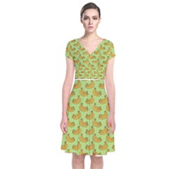 Green And Yellow Banana Bunch Pattern Short Sleeve Front Wrap Dress