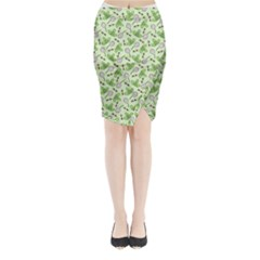 Bees And Green Clover Midi Wrap Pencil Skirt