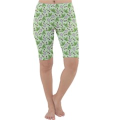 Bees And Green Clover Cropped Leggings