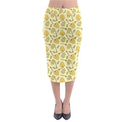 Yellow Beehives And Honey Pattern Midi Pencil Skirt