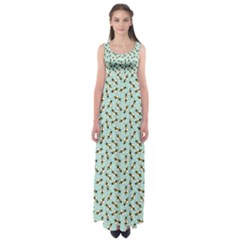 Blue Honeybee Pattern Empire Waist Maxi Dress