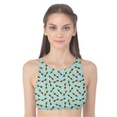 Blue Honeybee Pattern Tank Bikini Top
