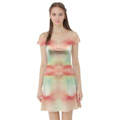 Pink And Mint Abstract Watercolor Short Sleeve Skater Dress