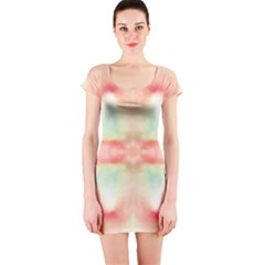 Pink And Mint Abstract Watercolor Short Sleeve Bodycon Dress