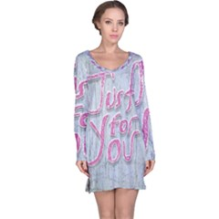 Letters Quotes Grunge Style Design Long Sleeve Nightdress