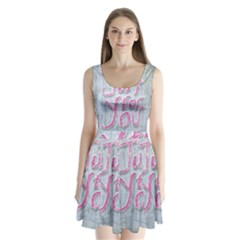 Letters Quotes Grunge Style Design Split Back Mini Dress
