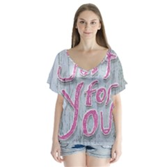 Letters Quotes Grunge Style Design Flutter Sleeve Top
