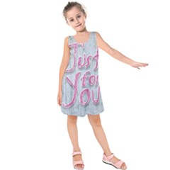 Letters Quotes Grunge Style Design Kids  Sleeveless Dress