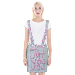 Letters Quotes Grunge Style Design Braces Suspender Skirt