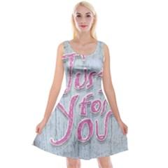 Letters Quotes Grunge Style Design Reversible Velvet Sleeveless Dress