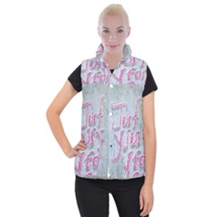 Letters Quotes Grunge Style Design Women s Button Up Puffer Vest