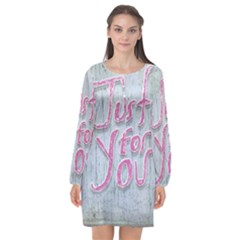 Letters Quotes Grunge Style Design Long Sleeve Chiffon Shift Dress