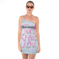 Letters Quotes Grunge Style Design One Soulder Bodycon Dress