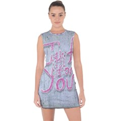 Letters Quotes Grunge Style Design Lace Up Front Bodycon Dress