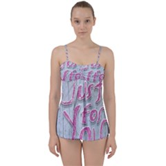Letters Quotes Grunge Style Design Babydoll Tankini Set