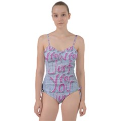 Letters Quotes Grunge Style Design Sweetheart Tankini Set