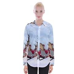 Christmas, Santa Claus With Reindeer Womens Long Sleeve Shirt