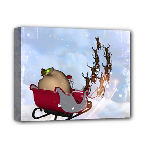 Christmas, Santa Claus With Reindeer Deluxe Canvas 14  X 11