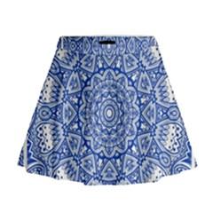 Blue Mandala Art Pattern Mini Flare Skirt