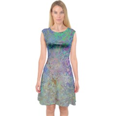 Colorful Pattern Blue And Purple Colormix Capsleeve Midi Dress