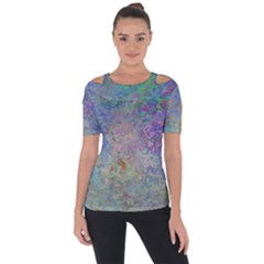 Colorful Pattern Blue And Purple Colormix Short Sleeve Top
