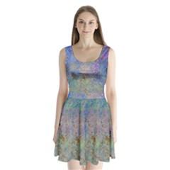 Colorful Pattern Blue And Purple Colormix Split Back Mini Dress