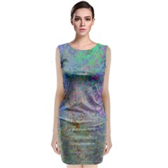 Colorful Pattern Blue And Purple Colormix Sleeveless Velvet Midi Dress