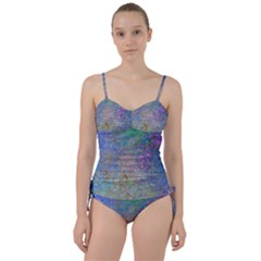 Colorful Pattern Blue And Purple Colormix Sweetheart Tankini Set